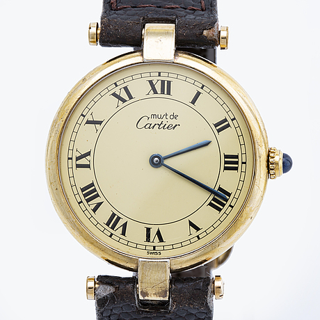 "Cartier wristwatch, gilded silver, ""must de cartier"", 30 mm, quartz movement."