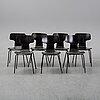 """Arne jacobsen, stolar, 7 st, modell 3103 """"t-stolen"""", fritz hansen, danmark, daterade 1973."""