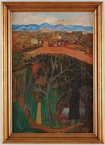 "Hilding linnqvist, ""trädgård, sienna""."