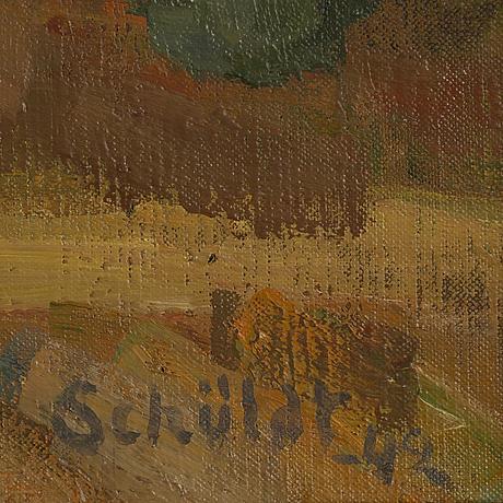 Fritiof schüldt, signerad och daterad -42, olja på duk.