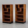 A pair of stained birch bookcases, 1930's.