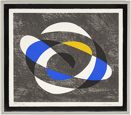 Pierre olofsson, lithograph in colours, signed ea xii/xx.