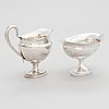 A silver sugar bowl, dresden, germany, 1818, and a silver cream jug, maker's mark juho tepponen, helsinki 1933.