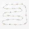 Longhain pearl and brilliant-cut diamond necklace.