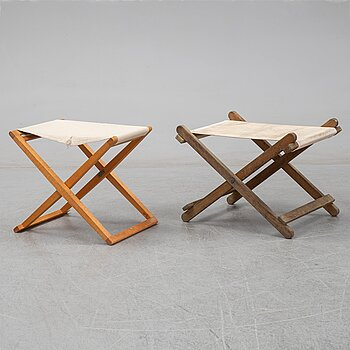 Mogens Koch, a 'MK16' folding stool + 1 another folding stool, Denmark.