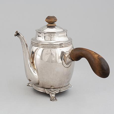 A swedish silver chocolate jug, mark of carl gustaf hjulström, köping 1838.