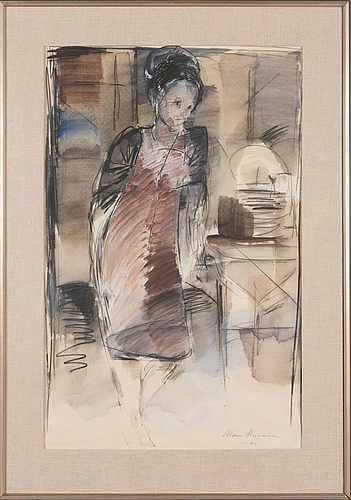 Mauri heinonen, mixed media on paper, signed and dated -64.