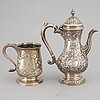 A silver jug and coffee pot, including  john langlands i & john robertson i, newcastle 1788.