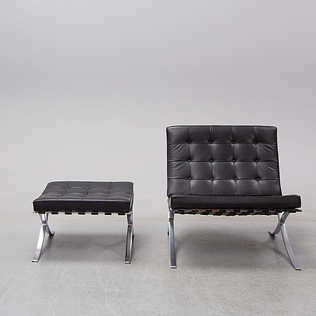 Ludwig mies van der rohe, a 'barcelona' lounge chair and ottoman, knoll.