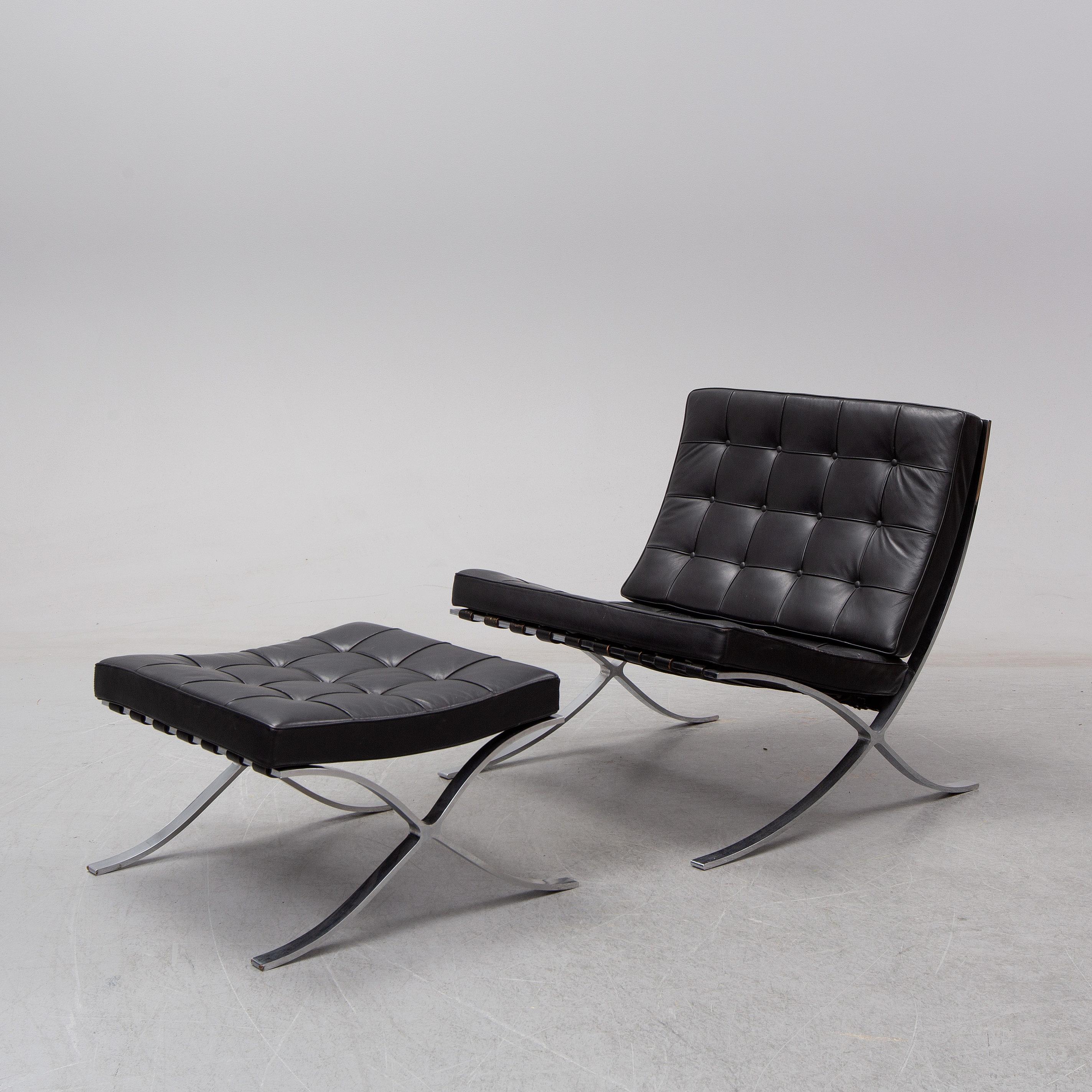 Ludwig Mies van der Rohe, a 'Barcelona' lounge chair and ottoman, Knoll. -  Bukowskis