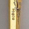Otto roland mellin, dopset i etui, 3 delar, förgyllt silver, helsingfors 1882.