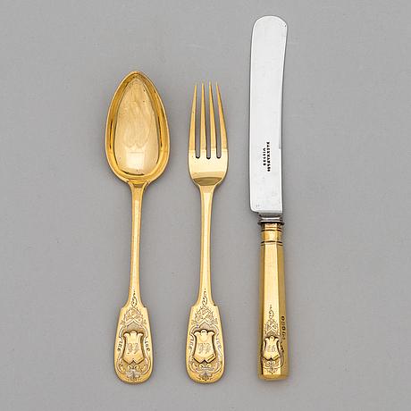 A 3-piece gilt silver cutlery set, maker's mark of otto roland mellin, helsinki 1882.