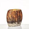 Daum, an art nouveau oval, enamelled cameo glass vase, nancy france.