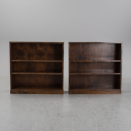 A pair of 1940's stained birch book cases.