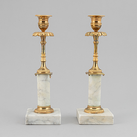 A pair of late gustavian candlesticks, ca 1800.