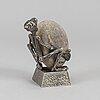 """Henry gustafsson, skulptur, """"lyftet"""", tenn och sten, vimmerby, signerad, 1998."""