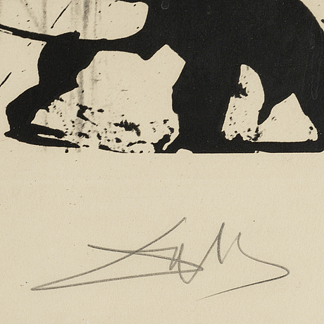 Salvador dali, etching and collotype. signed and numbered f 88/175.