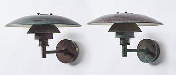 Poul Henningsen, two wall lamps, Louis Poulsen, Denmark.
