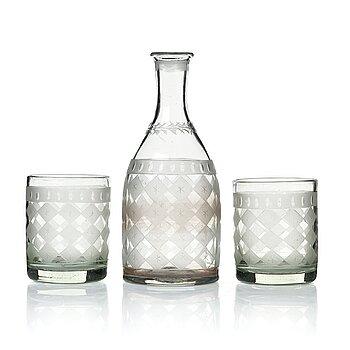 296. Selterglas, 12 stycken samt karaff. Sverige, 1800-tal.