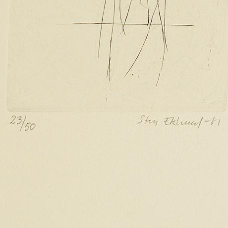Sten eklund, coloured etching, 1981, signed 23/50.