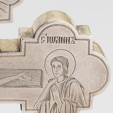 A parcel-gilt crucifix, maker's mark of dmitry maksimovich shelaputin, moscow, russia 1874.