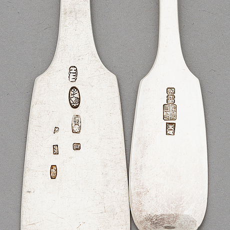A set of silver forks and spoons, 6+6, riga early 1900s and saint petersburg 1893.