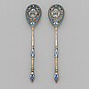 A pair of silver-gilt, cloisonné enamelled teaspoons, moscow mid-19th century. assay master mark of andrey a. kovalsky.