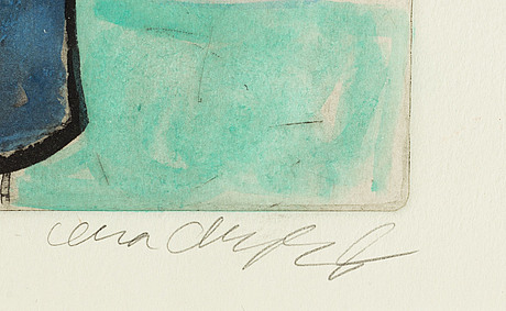 Lena cronqvist, etching, colorated, signed.