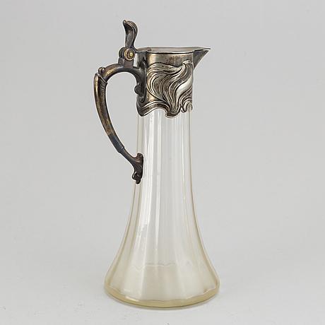 Württembergische metallwarenfabrik, wmf, an art nouveau glass and silver plate decanter, early 20th century.