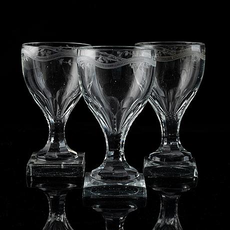 A set of 13 late gustavian dessert wine glasses.