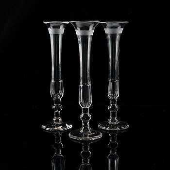 A set of nine early 19th century champagne flutes.