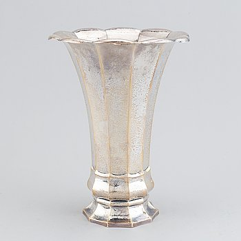 A silver vase, swedish import mark of Juveleraraktiebolaget T Petersson, Norrköping.
