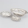 Three 20th century silver baskets, swedish import mark.