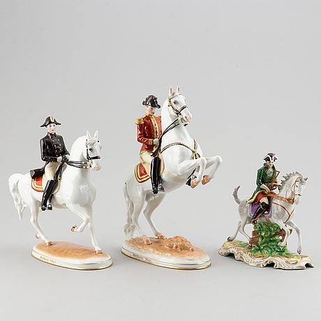 Three porcelain figurines, two depicting riders of the  spanish riding school vienna, austria, 20th century,