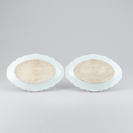 A pair of double peacock dishes, qing dynasty, qianlong (1736-95).