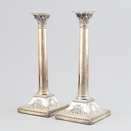 A pair of george iii candlesticks, by john parsons and co., sheffield 1788.