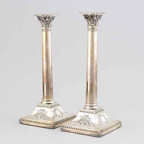 John parsons & co, kolonnljusstakar, ett par, silver, sheffield 1788.