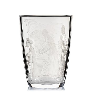 7. Simon Gate, an engraved glass vase, Orrefors, Sweden 1947, engraved by Arthur Diessner.