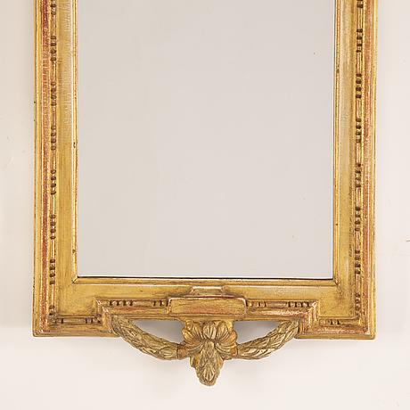 Nils meunier, spegel, gustaviansk, daterad 1772.