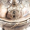 A lidded silver empire sugar bowl with cover, marked london 1811.