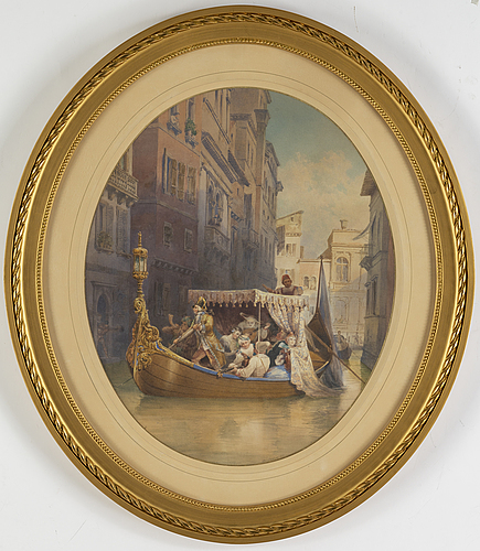 Fredrik wilhelm scholander, watercolour, signed and dated 1871.