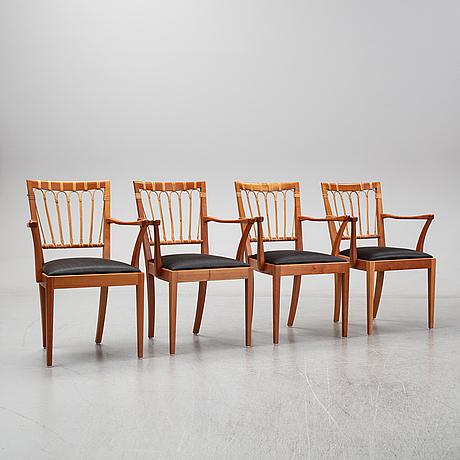 A set of four dining armchairs, josef frank, model 1165, svenskt tenn, stockholm.