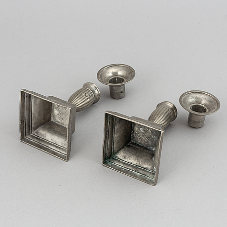 Two pairs of swedish pewter candlesticks by erik wikgren, possibly and nils silov, first half of the 19th century.