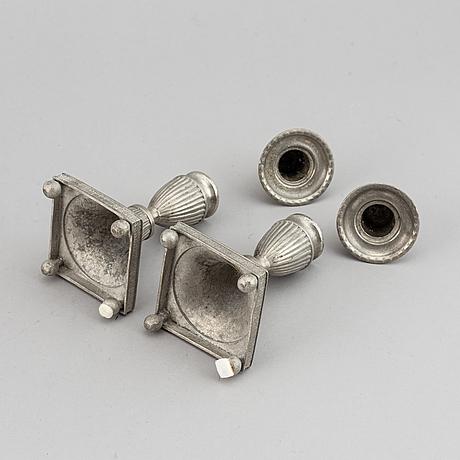 Erik wikgren, sannolikt och nils silov, ljusstakar, två par, tenn, 1800-talets första hälft.