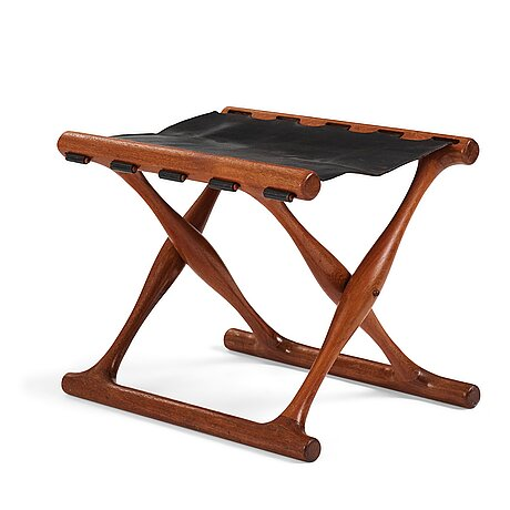 "Poul hundevad, a ""guldhøj"" teak and leather folding stool for vamdrup, denmark 1960's."