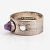 Elis kauppi, ring, silver, ametist. kupittaan kulta, åbo 1962.