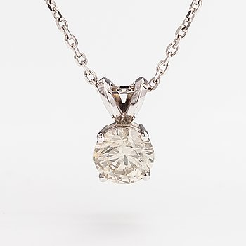 A 14K white gold necklace with a ca. 0.93 ct diamond.