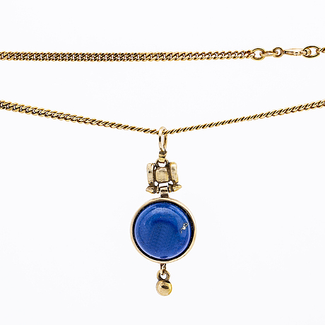 Gold chain 18k and penfdant 14k gold with lapis lazuli, chain approx 44 cm pendant approx 4 x 1,5 cm.