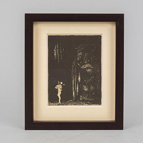John bauer, lithograph, from 'troll', 1915.