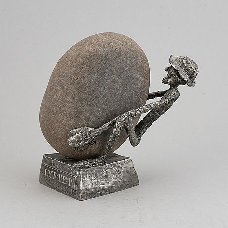 Henry gustafsson, a signed stone and pewter sculpture, vimmerby 1994.